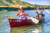 Canoeists on Missouri River near White Cliffs on L&C Trail in MT - 6-2 - 72 ppi