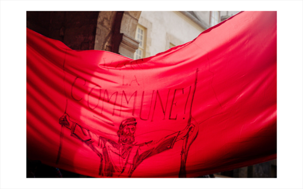 Les Amies et Amis de la Commune de Paris 1871 ont defile le 18 mars 2021 de la place de la Bastille a la place de l Hotel de Ville pour commemorer les 150 ans de La Commune de Paris. Paris, France, 2021/03/18.