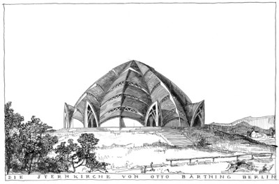 04 Otto Bartning, Ansicht der Sternkirche, Tuschezeichnung, 1922.