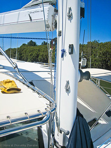 Furling line fairlead- boom to starboard.