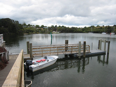 ALLEGRO in the Kerikeri River at the Stone Store wharf