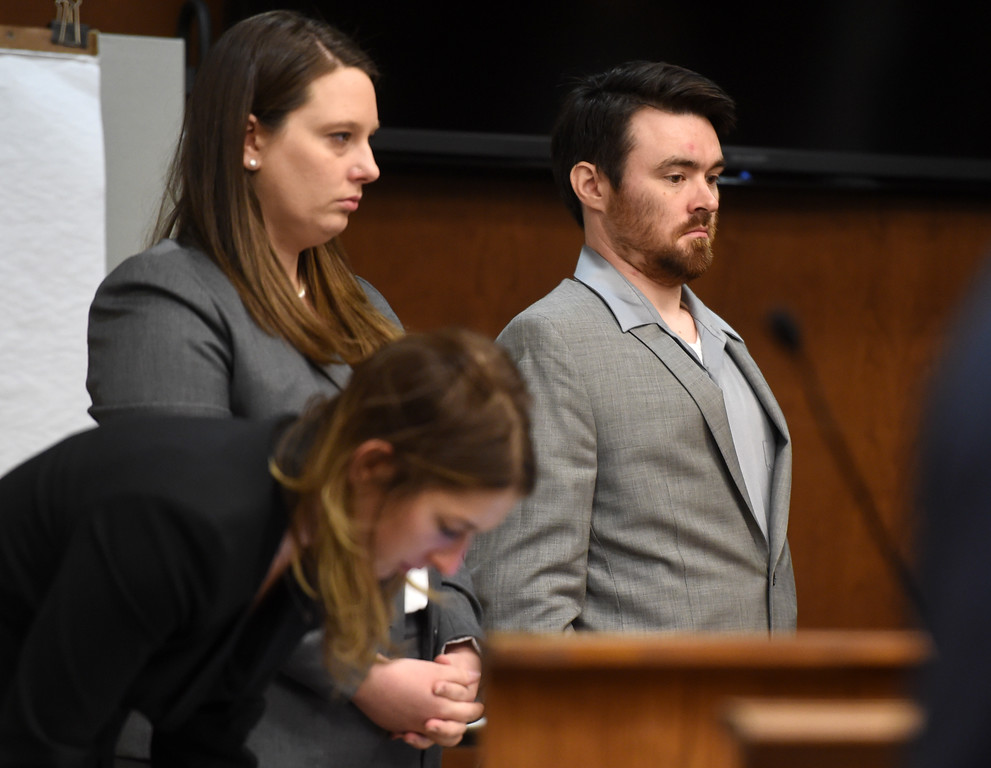 . Adam Densmore with his attorneys, Kate Herold, and Jennifer Chenu. Attorneys made their opening statements Thursday morning to a jury of 16 people � nine men and seven women � who will hear testimony over the next three weeks to determine if Adam Densmore is guilty of killing and dismembering his ex-girlfriend, Boulder\'s Ashley Mead. Densmore, 33, is charged with first-degree murder, tampering with a corpse, abuse of a corpse and tampering with physical evidence. Cliff Grassmick  Photographer  April 12, 2018