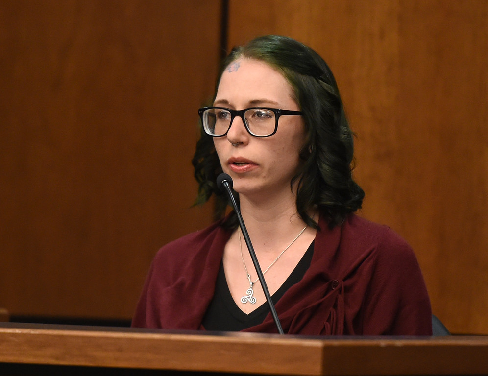. Amelia O\'Carroll, a witness for the prosecution, was Ashley Mead\'s close friend. Attorneys made their opening statements Thursday morning to a jury of 16 people � nine men and seven women � who will hear testimony over the next three weeks to determine if Adam Densmore is guilty of killing and dismembering his ex-girlfriend, Boulder\'s Ashley Mead. Densmore, 33, is charged with first-degree murder, tampering with a corpse, abuse of a corpse and tampering with physical evidence. Cliff Grassmick  Photographer  April 12, 2018