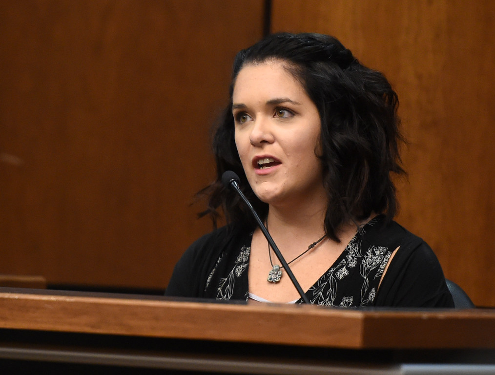 . Morgan Jeknavorian, a witness for the prosecution, was Ashley Mead\'s close friend. Attorneys made their opening statements Thursday morning to a jury of 16 people � nine men and seven women � who will hear testimony over the next three weeks to determine if Adam Densmore is guilty of killing and dismembering his ex-girlfriend, Boulder\'s Ashley Mead. Densmore, 33, is charged with first-degree murder, tampering with a corpse, abuse of a corpse and tampering with physical evidence. Cliff Grassmick  Photographer  April 12, 2018