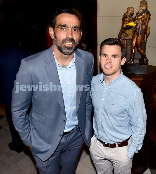 A conversation with Adam Goodes. Adam Goodes (left), Steven Hobday. Pic Noel Kessel