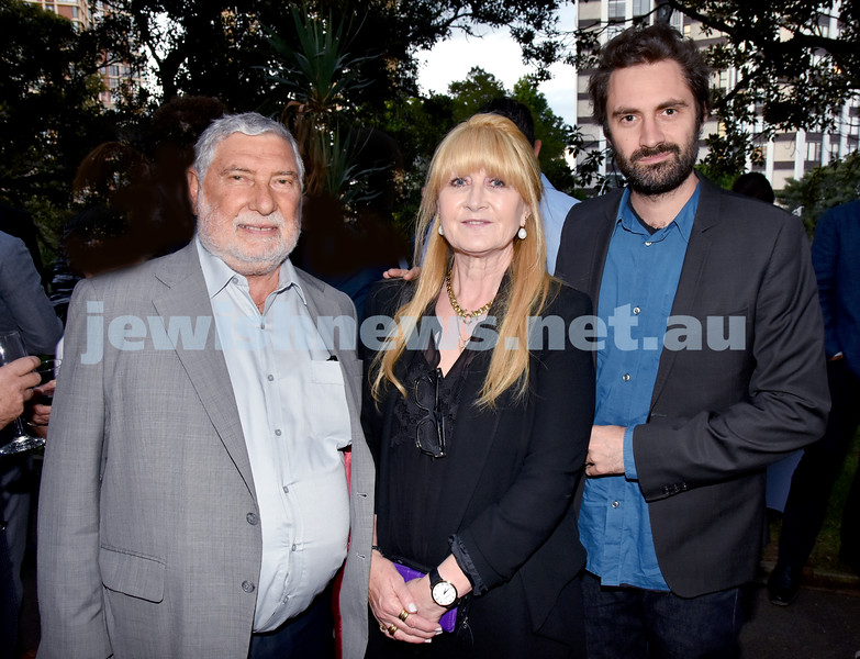 A conversation with Adam Goodes. From left: David Newman, Hannah Briand - Newman, Ben Briand. Pic Noel Kessel