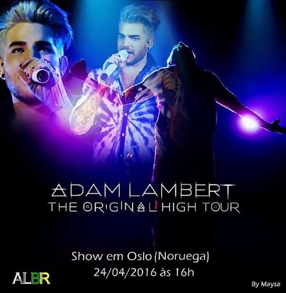 💜 Adam Lambert 3 pm ET Sentrum Scene Oslo, Norway 3/24 #TOHTOslo Stream: http://mixlr.com/rabbitholegirl/ pic @AdamLambertBr