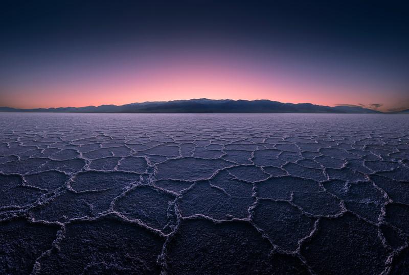 Salt flats at dusk