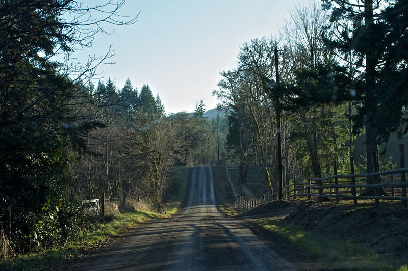 Turning off the main Hiway onto this gravel road looking for Roberts new place. 12-21-2011