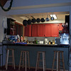 Inside looking at the kitchen and breakfast bar.