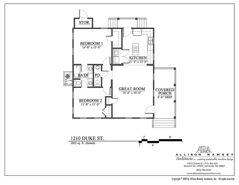 This plan is 1022 Heated Square Feet, 2 Bedrooms and 1 1/2 Bathrooms.