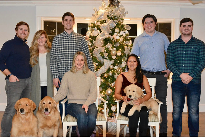 From left are Matt Cyr and Alyssa Adie Cyr, Logan Calvey, Kirsta Adie, Chloe Aiken, Donny Adie and Billy Adie, with pets Dunkin' (of course!), Chino and Miller.