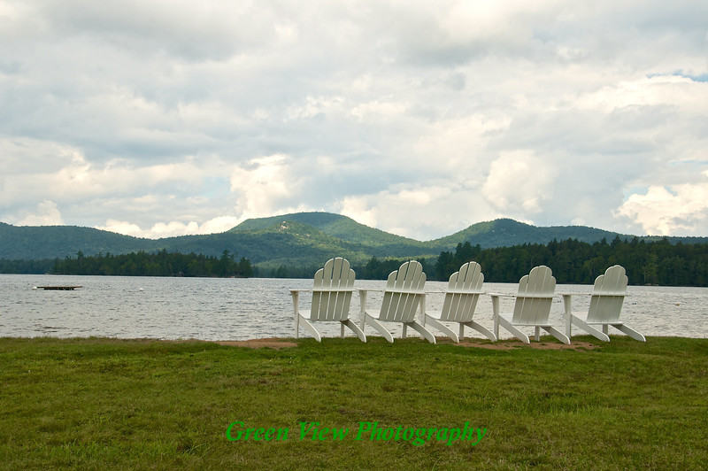 Chairs on Blue Mountain Lake