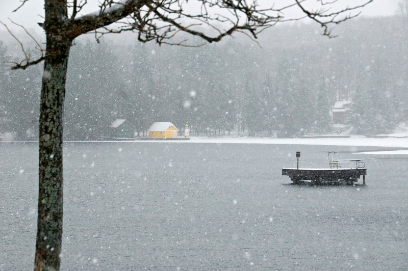 Snowy Winter Yellow Boathouse