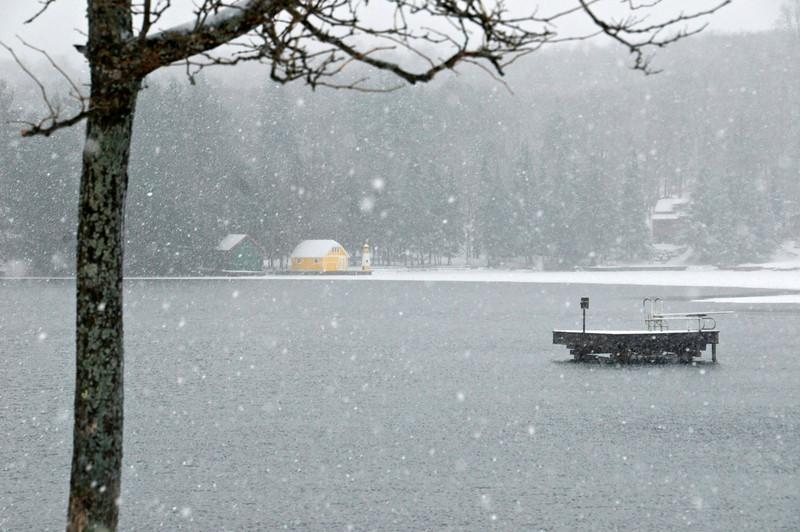 Snowy Winter Yellow Boathouse