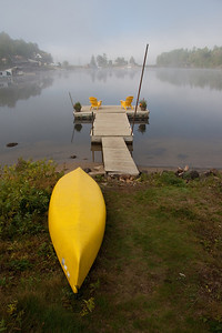 Foggy morning by the dock at the Motel Long Lake