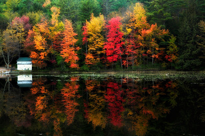 17- Small Cabin and autumn reflection, Adirondacks.