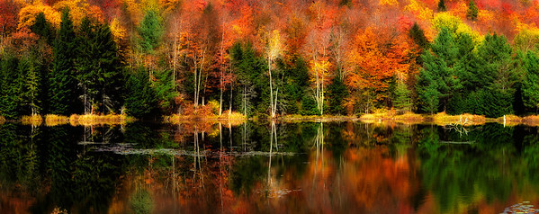 2- Panoramic view of Adirondacks Fall Reflection