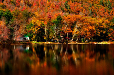 8- Beautiful Fall Reflection in a lake, Adirondack State Park.