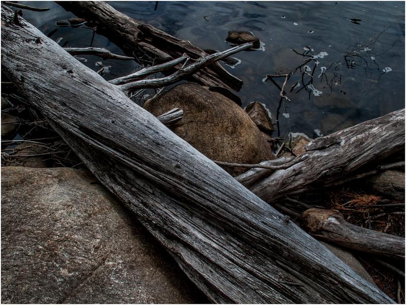 Adirondacks Moose River Recreation Area Squaw Lake Logs and Stone at Water Edge July 2012