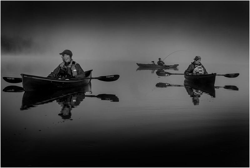 Adirondacks BW Forked Lake July 2015 Morning Mist Paddlers and Fisherman