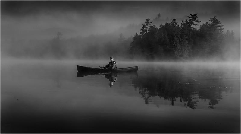 Adirondacks BW Forked Lake July 2015 Morning Mist After Sunrise Dan Way 9