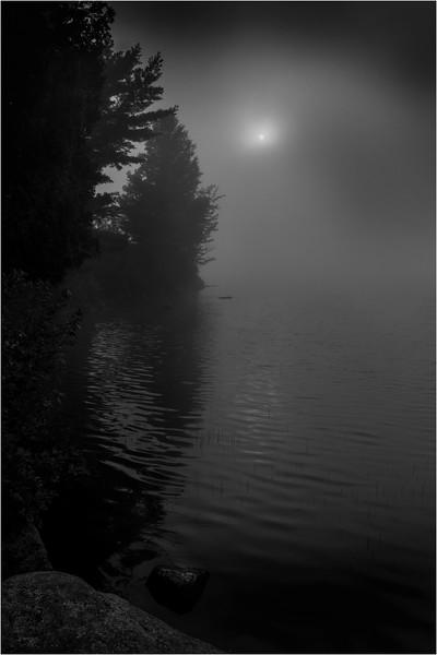 Adirondacks Blue Mountain Lake July 2015 Morning Mist Sunrise BW 1