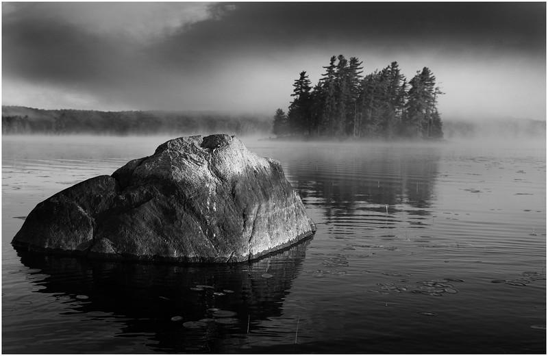 Adirondacks Whitney Wilderness Round Lake Morning Islands Lifting Mist Boulder July 2012