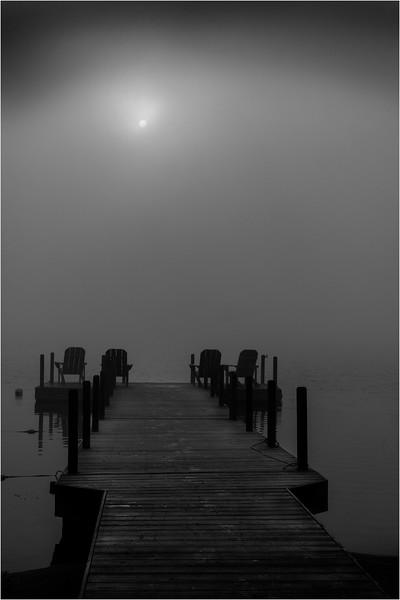 Adirondacks Blue Mountain Lake July 2015 Morning Mist Sunrise BW 2