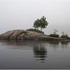Adirondacks Blue Mountain Lake Morning Two Trees on a Rock island July 2009