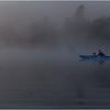 Adirondacks Forked Lake July 2015 Morning Mist Photographer Fisherman in Blue Kayak