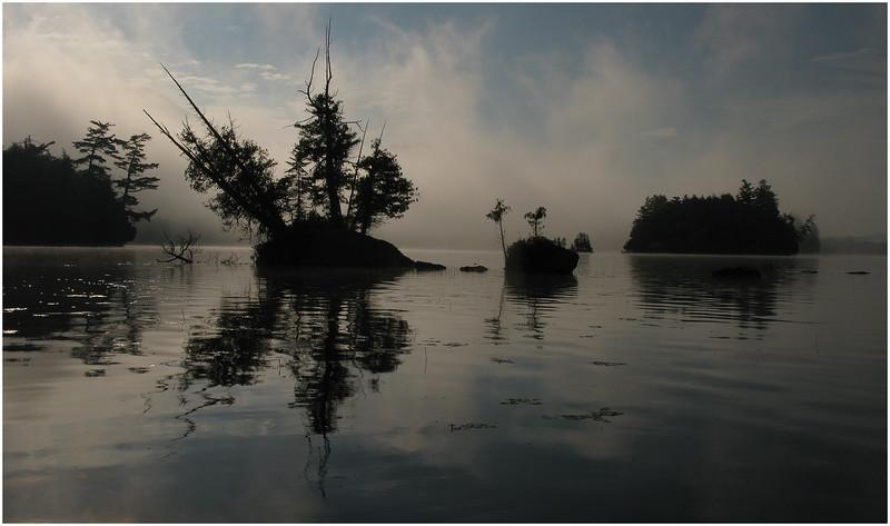 Adirondacks Blue Mountain Lake Mist and Islands2