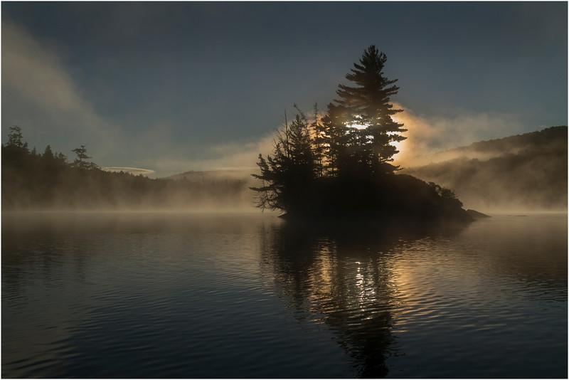 Adirondacks Moose River Recreation Area Squaw Lake Deep Sunrise Through Island September 2012