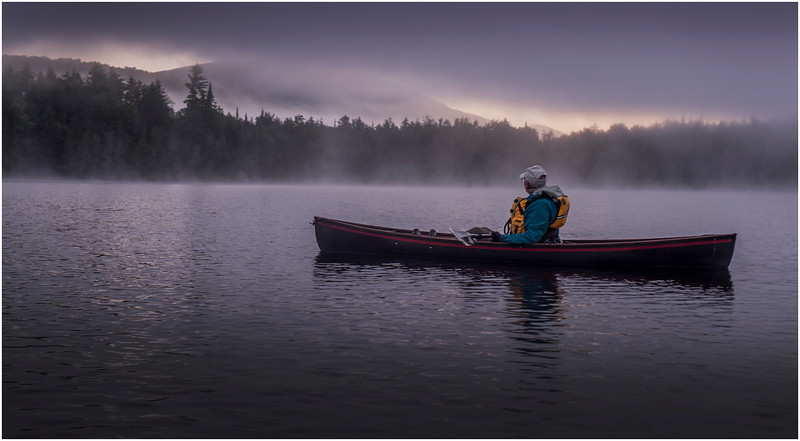 Adirondacks Newcomb Lake Morning Mist Santanoni Peak 1 July 2017