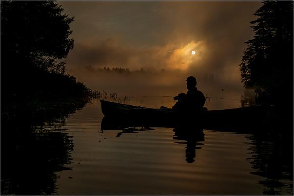 Adirondacks Forked Lake July 2015 Morning Mist Sunrise with Photographer 4