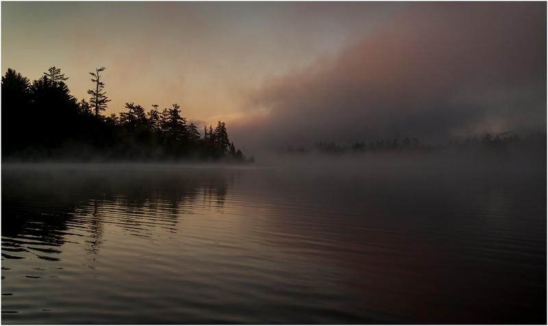 Adirondacks Forked Lake July 2015 Morning Mist Triangle of Mist 2