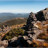 Adirondacks Algonquin Summit Alpine Lawn Rock Cairn Hiker on Trail View Wright Peak September 2010