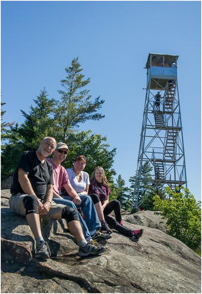 Adirondacks Bald Mountain Tom, Todd, Kim, Jennifer and Firetower July 2016