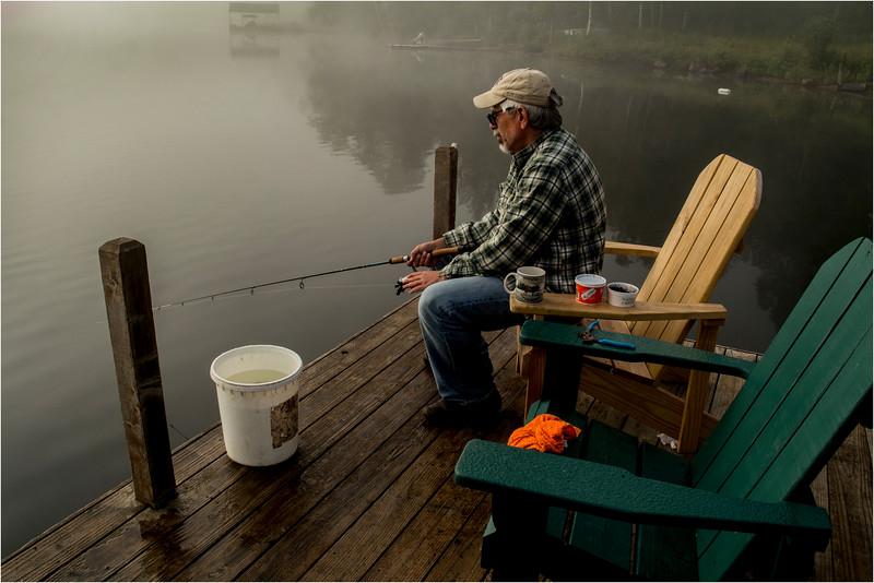 Adirondacks Blue Mountain Lake July 2015 Fisherman in the Mist
