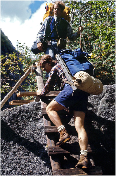 Adirondacks Classic Hikers on Ladders, Avalanche Pass circa 1978