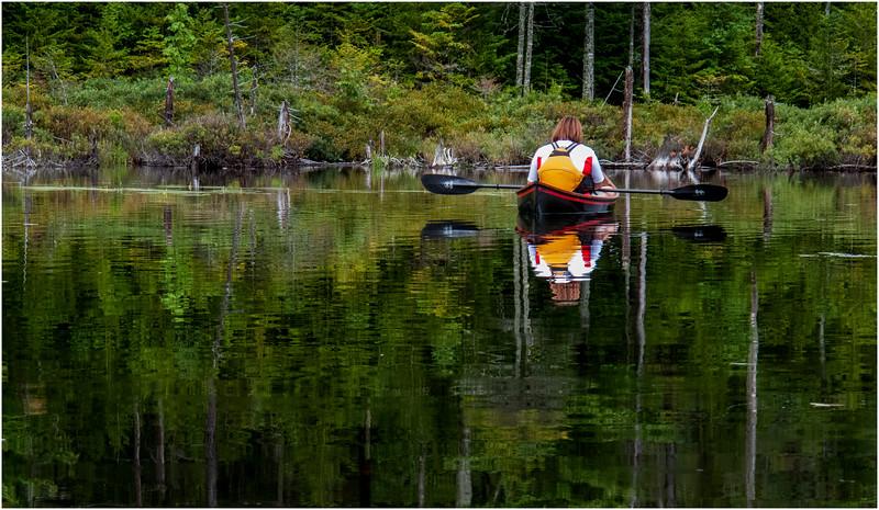 Adirondacks Wakely Pond Kim in Hornbeck Reflections 3 July 2012