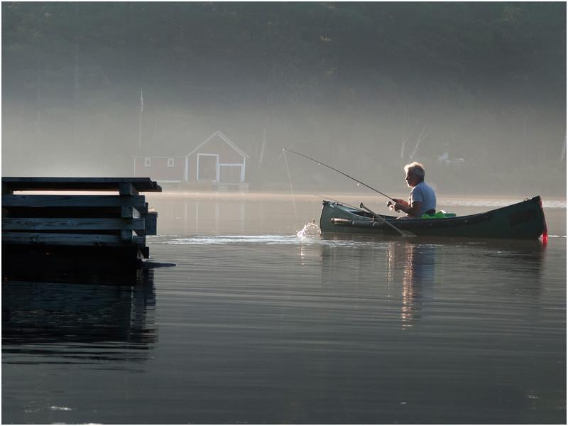 Adirondacks Chateagay Lake Morning Mist Fisherman July 2010
