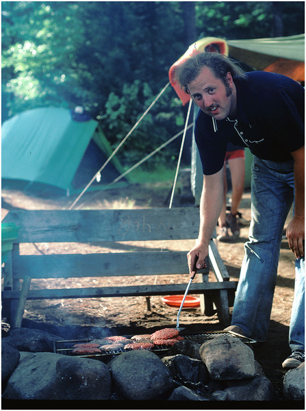 Adirondacks Classic Joe Amyot Cooking Burgers Forked Lake circa 1982