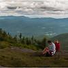 Adirondacks Cascade Mountain Siummit Hikers resting, Keene Vally Below July 2009