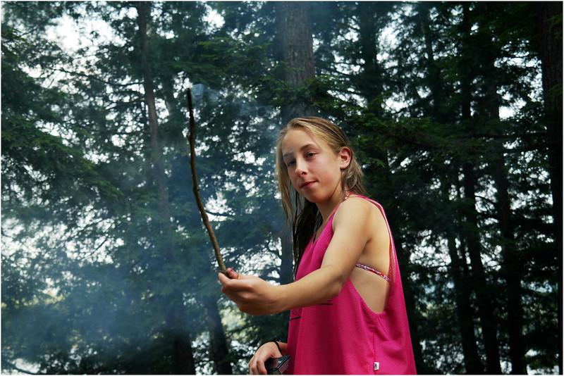 Adirondacks Forked Lake Campsite 36 July 2012 Jenna and Fire Stick