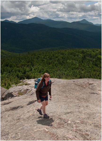 Adirondacks Cascade Mountain Trail Kim Ascending, Marcy Colden Background July 2009
