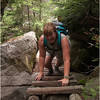 Adirondacks Avalanche Pass Trail Hiker Kim Looking Up Shoreline Trail Ladder Down July 2012