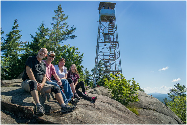 Adirondacks Bald Mountain Todd, Kim, Jennifer and Firetower 2 July 2016