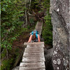 Adirondacks Avalanche Pass Trail Hiker Kim with Foorbridge and Ladder July 2012