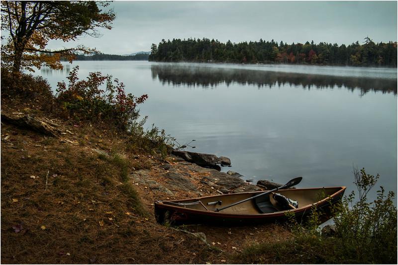 Adirondacks Whitney Wilderness Round Lake Campsite with Boat September 2013